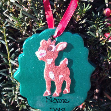 Personalized Metallic Green Reindeer Ornament