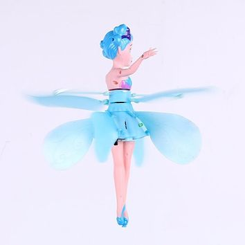 Hand Induction Floating Flying Fairy blue Dolls Electronic Toys Girl creative gift Educational toys for children
