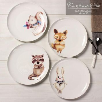 New Arrival 8 Inch Porcelain Dinner Plates European Style Bone China Round Cute Animal Character Dishes Free Shipping