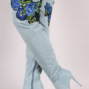 Floral Patch Denim Stiletto Boots | UrbanOG