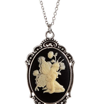 Noir Forest Fairy Framed Cameo Necklace