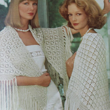 Two Vintage Crochet Shawl Patterns Womens Lacy Spiderweb & Fan Shawl Crochet Pattern PDF Instant Download PATTERN LOT knitted supplies