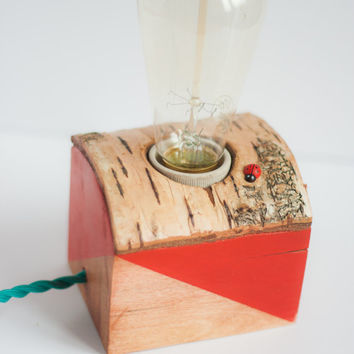 Reclaimed wood lamp - unique and simple minimalist,industrial home decor,red ladybug decor,gift for everyone as table, desk or bedside lamp