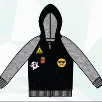Boys Raglan Sherpa Lined Hoodie with Emoji Patches - Sizes XS-XL - CASE OF 24
