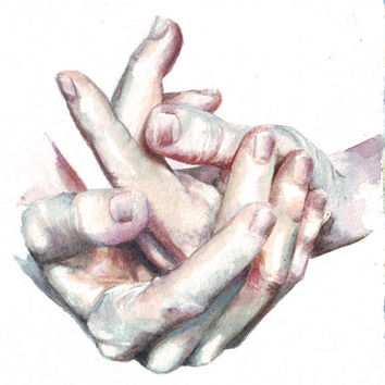 HM042 Original art watercolor painting of Expressing Hands by Helga McLeod