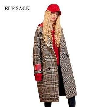 ELF SACK Vintage Elegant Women Winter Plaid Wool Coats Straight Fashionable Turn-Down Collar Female Outerwear
