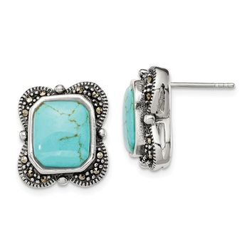 925 Sterling Silver Marcasite and Reconstituted Turquoise Earrings