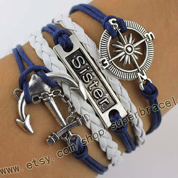 "Sisters anchor Bracelet, bracelets, the compass Bracelet, Antique Silver Bracelet, ""women cuff Bracelet, navy blue leather, bridesmaid gift"