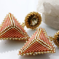 Unique Pyramid Earrings / Hand Beaded Earrings / Trending Statement Earrings by Kalitheo / KTC-141