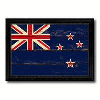 New Zealand Country Flag Vintage Canvas Print with Black Picture Frame Home Decor Gifts Wall Art Decoration Artwork