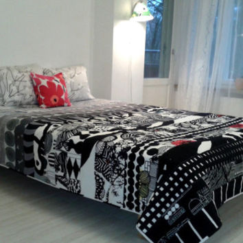 Modern quilt made from Marimekko fabric, Scandinavian patchwork contemporary bed cover, black and white geometric coverlet, Kind, Queen twin