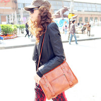 New Style Retro Zipper Brown PU Clutches Bag - gopromdres.com
