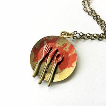 Bloody Plate Necklace Inspired By Santa Clarita Diet: zombie bloody meal, Halloween jewelry
