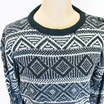 Vintage 1990s GEOMETRIC Aztec Sweater Jumper Large Hipster Crazy Print Pattern