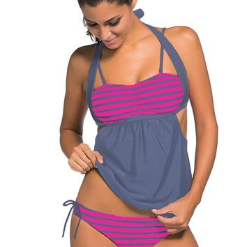Grey White Stripes Grey Splice Tankini Swimsuit