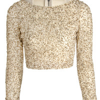 Alice + Olivia Lacey Embellished Crop Top