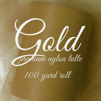 GOLD - Premium Nylon Tulle - 100 yard rolls - other colors also available