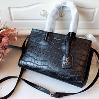 Saint Laurent YSL Crocodile Embossed Leather Handbag Shoulder bag