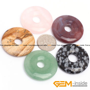 30mm Donuts Shape Natural Stone Beads For Jewelry Making : Indian Agate Obsidian Moss Agate RedJasper Tiger Eye Free Shipping