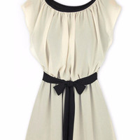 Cap-Sleeveless Tie Waist Dress