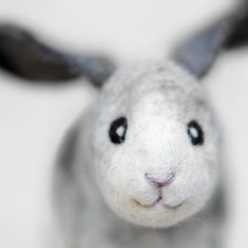 Robert - Felt  Bunny. Art Toy. Handmade Felted Hare Stuffed. grey gray black neutral, green. MADE TO ORDER