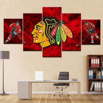 Awesome NHL Chicago Indians Poster 5pc HD Print Canvas Frame Painting Wall Art Picture For Bedroom Decor