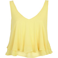 River Island Womens Yellow double layered V neck crop top