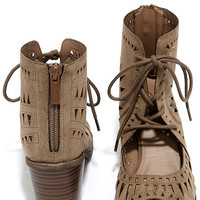 Cut to the Chase Beige Suede Cutout Lace-Up Booties