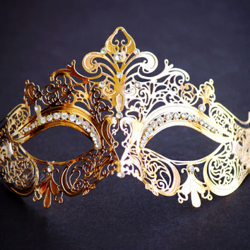 Luxury Victorian Gold Venetian Mardi Gras Masquerade Mask with Sparkling Rhinestones