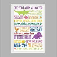 See You Later Alligator, Typography Print, Bye Goodbye Poster Kids Decor, Teacher Gift, Daycare, Preschool, Kindergarten