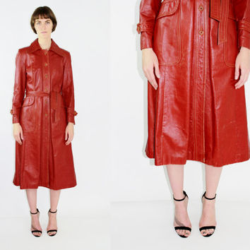 vtg 70s red leather trench coat burgundy midi coat duster coat long coat maroon coat petite coat swing coat boho coat extra small xs