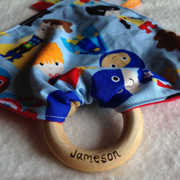 Super kids Tula teething blanket, personalized Tula teether, teething blanket, baby tag toy, taggy teether, ring teething blanket