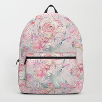 floral blush Backpack by sylviacookphotography