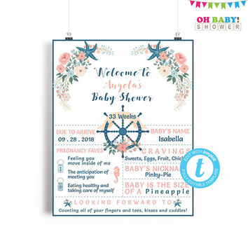 Nautical Baby Shower Poster, Baby Shower Chalkboard Sign, Welcome Sign, Vintage Baby Shower, Editable Templates, Printable, Girl, 16x20 NA01