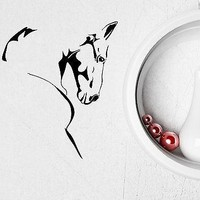 Vinyl Decal Wall Sticker Horse Head Sketch Stallion Mustang Beautiful Animals Modern Home Art Unique Gift (ig2043)