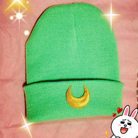 Sailor Moon Inspired Beanie // Moon Child Green // Pastel Grunge