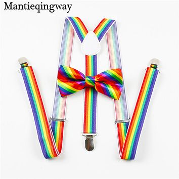 Fashion Unisex Suspenders Women Men Colorful Striped Elastic Braces Wedding Bow Ties For Men Suspender Bowtie Set