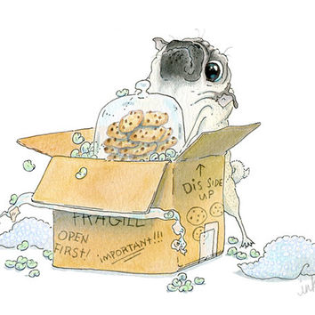 Moving Day Pug Card - Housewarming Card, Housewarming Invitation, Moving Announcement, Moving Card, Pug Art Illustration by InkPug!