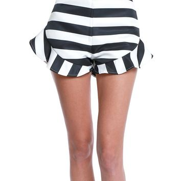 Edge Of Stripe Shorts - Black/White