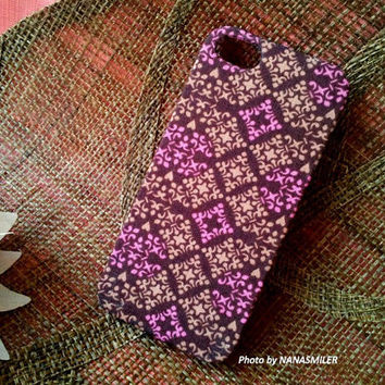 Violet Purple Diamond Damask Pattern  FABRIC Case for iPhone 5. French Vintage Style Cloth Case.