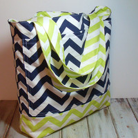 Lime and Navy Bag - Navy Beach Bag - Lime Beach Bag - Lime Chevron Tote - Navy Blue Tote - Chevron Tote Bag - Lime Green Bag - Canvas Tote