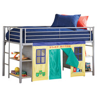 Hillsdale Universal Junior Twin Low Loft Bed with Bookshelves and Built-In Ladder
