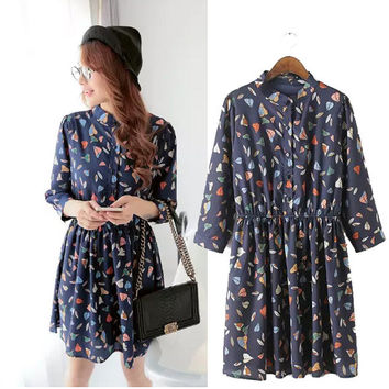 Stylish Three-quarter Sleeve Leaf Print Women's Fashion One Piece Dress [4918966468]