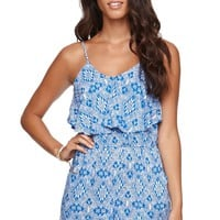 LA Hearts Ruffle Romper - Womens Dress - Blue -