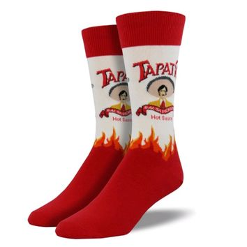 Novelty Socks TAPATIO Fabric Crew Hot Sauce Mnc625-Whi