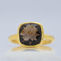 Faceted Smoky Quartz Vermeil Gold cushion cut stacking ring - natural gemstone bezel set jewelry
