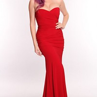 Red Strapless Sexy Maxi Dress