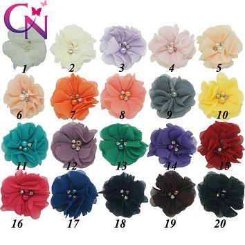 "20 Pieces/lot 2"" Beaded Chiffon Flower With Rhinestone For Headband Mini Cute Felt Back Pearl Chiffon Flower Hair Accessories"