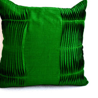 Decorative Throw Pillow Cover Emerald Green Accent Pillows In Textured Pleats Toss Cushion