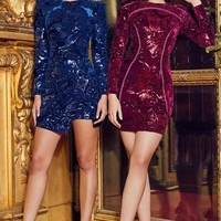 Lenore Plum Velvet Sequin Luxury Dress limited